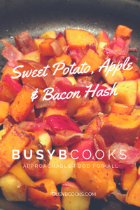Sweet potato, apple, bacon, hash
